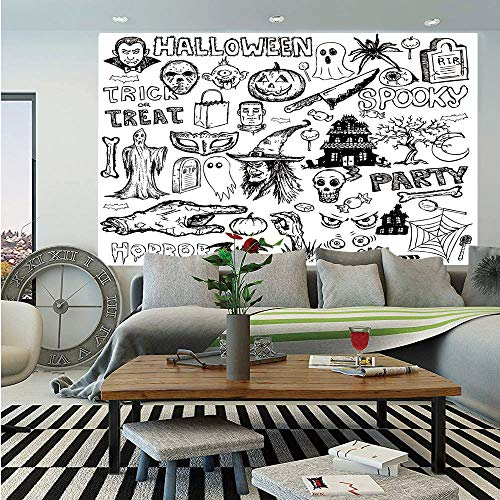 SoSung Vintage Halloween Removable Wall Mural,Hand Drawn Halloween Doodle Trick or Treat Knife Party Severed Hand Decorative,Self-Adhesive Large Wallpaper for Home Decor 66x96 inches,Black White]()