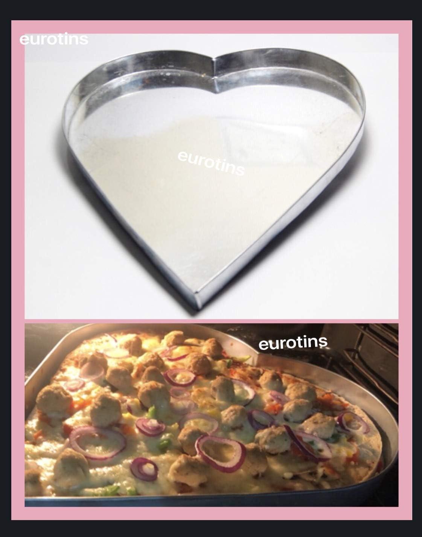 EURO TINS Heart Pizza Pan Baking Tray Straight Edges 30cm x 2.5cm