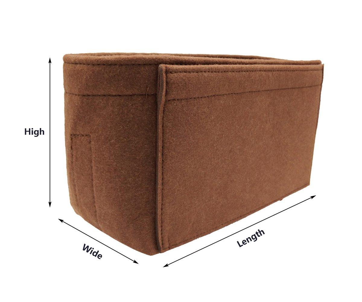 LEXSION Felt Insert Fabric Purse Organizer Bag, Bag Insert in Bag with Zipper Inner Pocket Brown XL by LEXSION (Image #3)