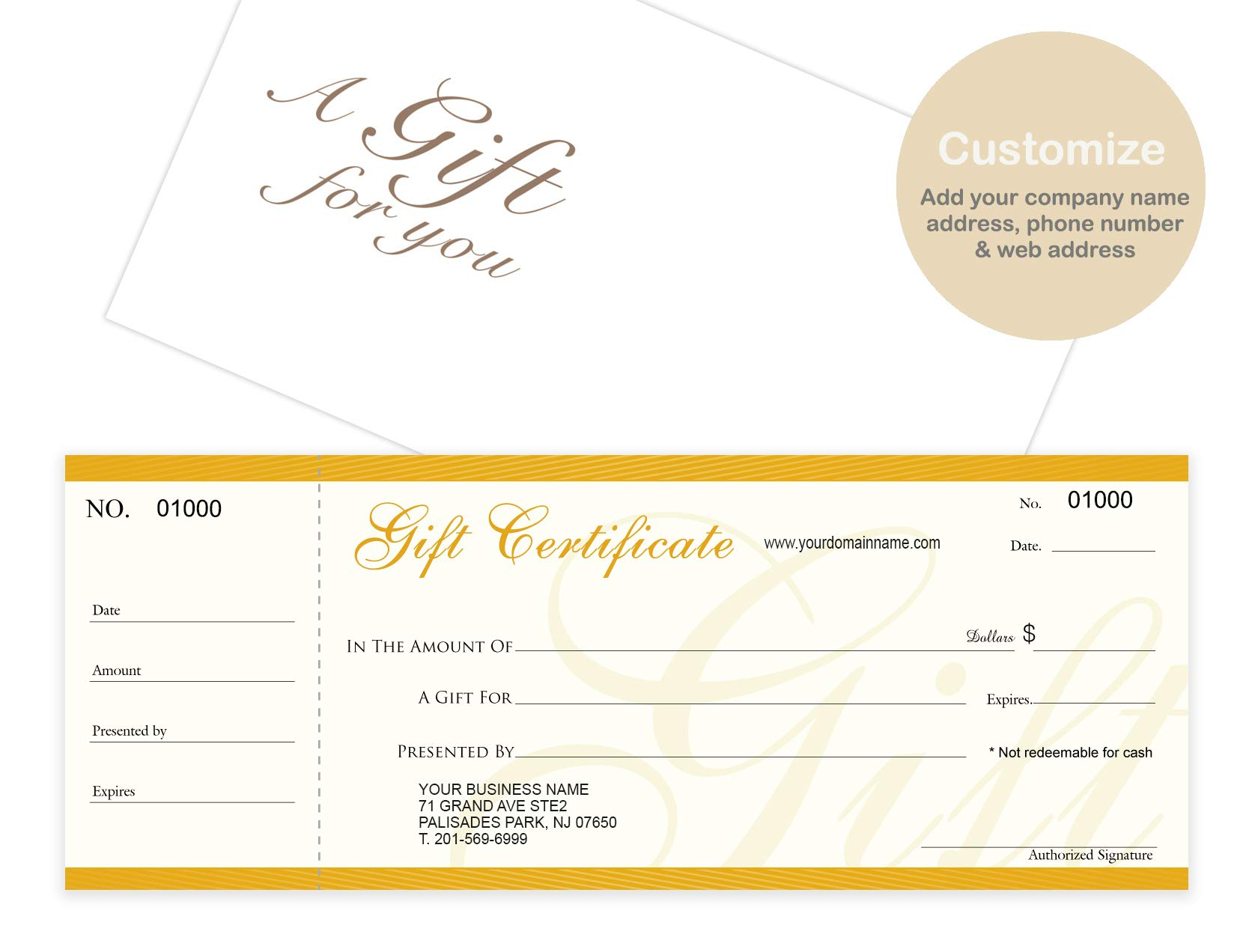 Custom Gift Certificates Cards with Envelopes 100 set - NJ67SB- Gift Coupons,Vouchers for Small Business,Spa,Makeup,Hair Beauty Salon,Restaurant,Wedding Bridal,Baby Shower,Holiday,Christmas,Birthday by IMPACTONLINEPRINTING
