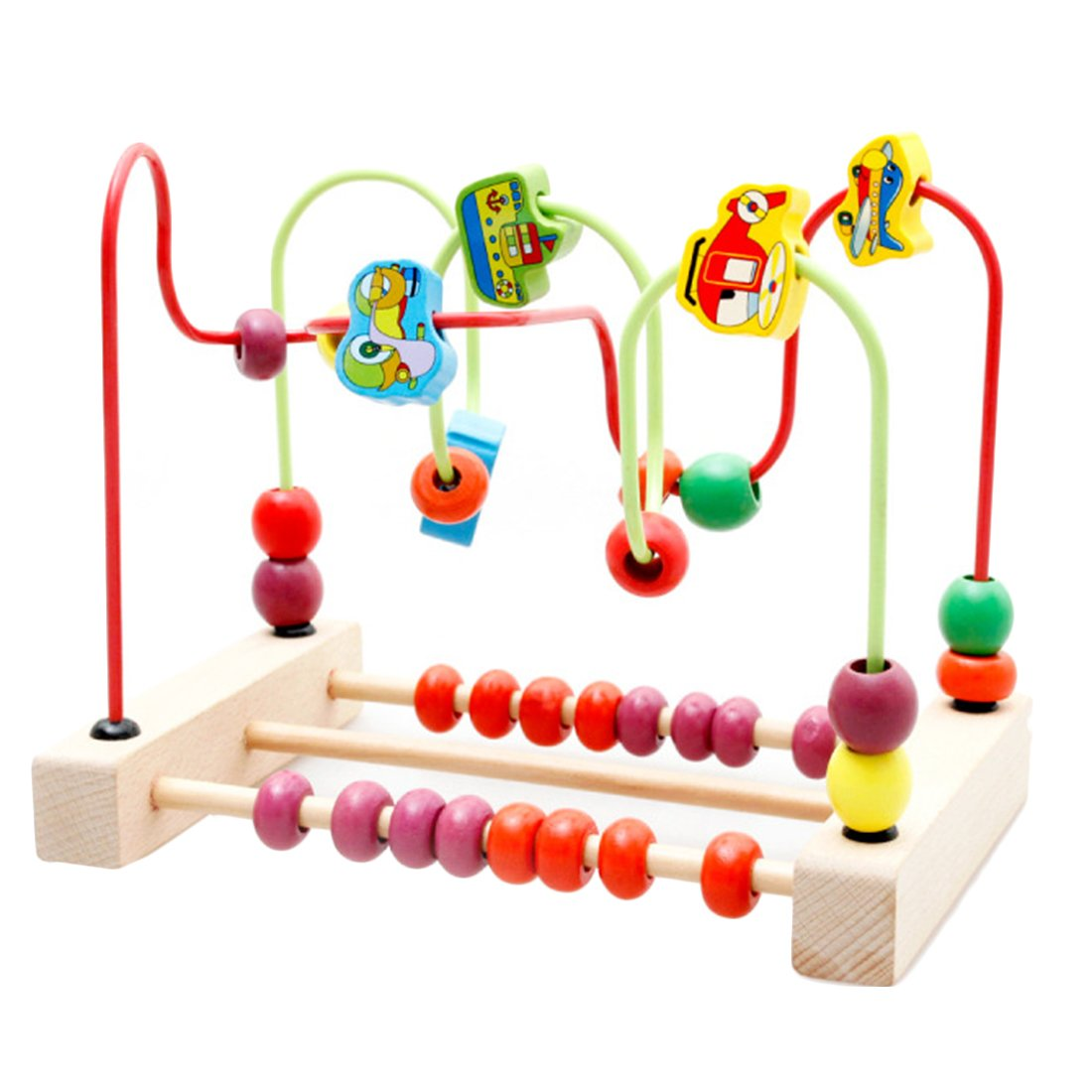 Perlen Labyrinth Spielzeug, Vicoki Holzperle Labyrinth Zählen Spielzeug für Babys Kleinkinder Achterbahn Bunte Abacus Kreis Spielzeug