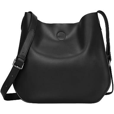 S-ZONE Leather Crossbody Bag Simple Shoulder Bag Drew Purse for Ladies  (Black)
