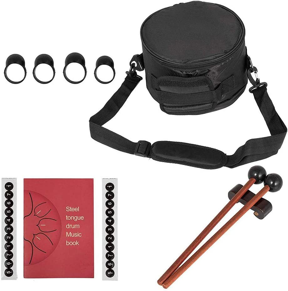 Mallets Finger Picks Steel Tongue Drum Percussion Instrument -Handpan Drum with Bag 13 Notes 12 inches Music Book