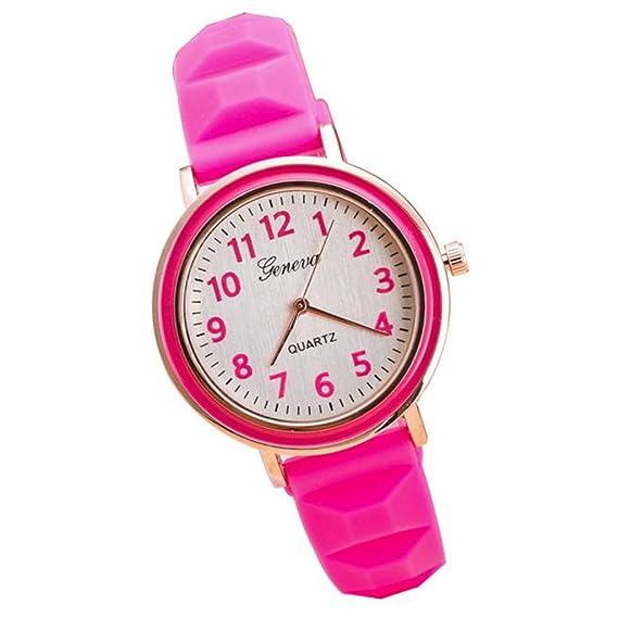 Poto 2017 nueva moda las mujeres redondo Dial banda de silicona reloj de pulsera analógico de cuarzo Casual: Amazon.es: Relojes