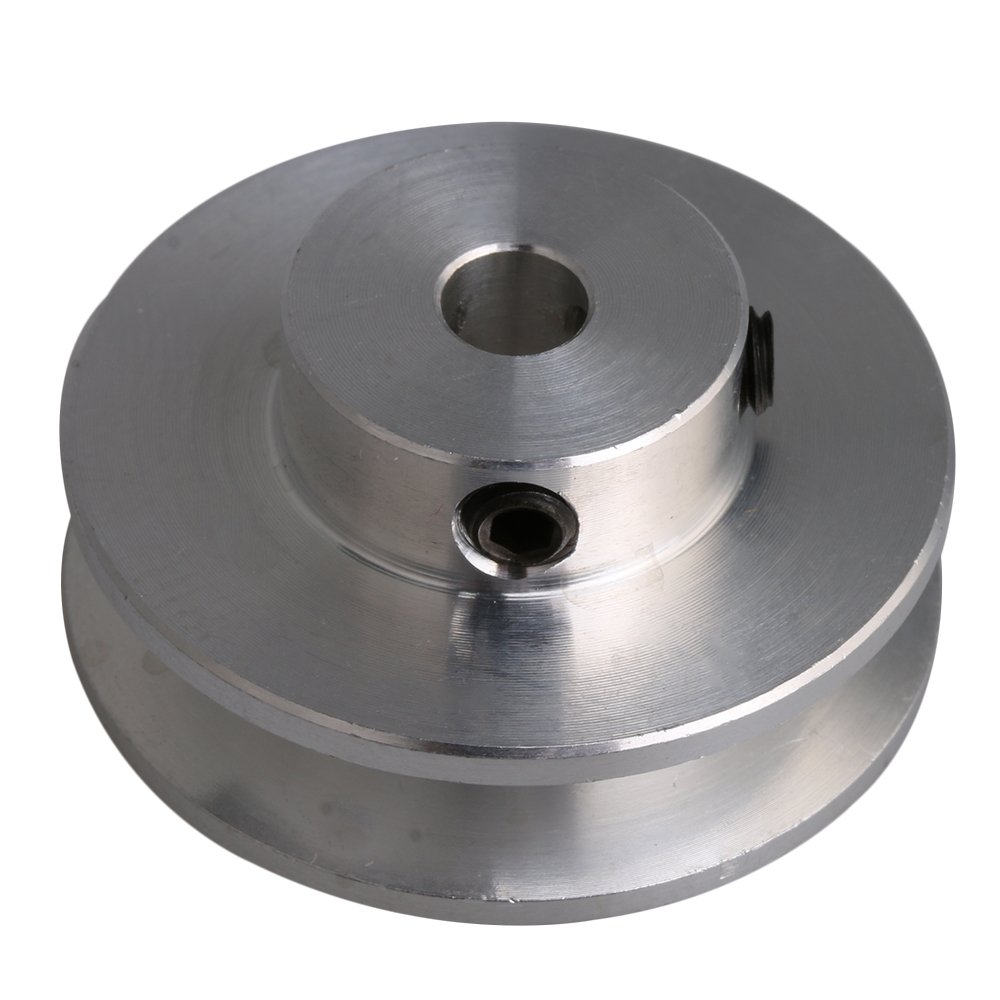 CNBTR 3.1x1.5x0.8cm Silver Aluminum Alloy 0.8cm Fixed Single Bore V-Shape Groove Pulley Wheel for Motor Shaft 0.3-0.5cm PU Round Belt yqltd