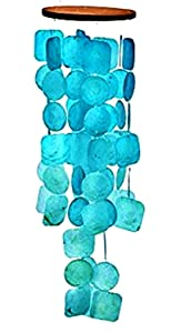 Bellaa 20744 Capiz Windchime Sea Shell Blue Turquoise 26 inch
