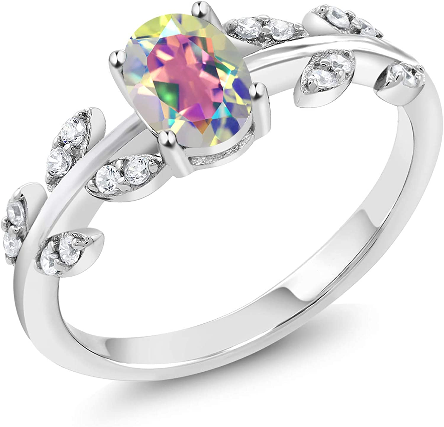 Gem Stone King Sterling Silver Mercury Mist Mystic Topaz Women's Olive Vine Ring (1.01 cttw Oval Available 5,6,7,8,9)