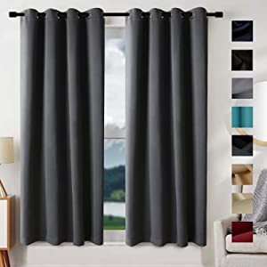 Blackout Curtains for Bedroom Thermal Insulated Blackout Grommet Window Curtain Panel for Living Room Window Treatment (2 Panels, W52xL95 inch Length, Dark Gray)