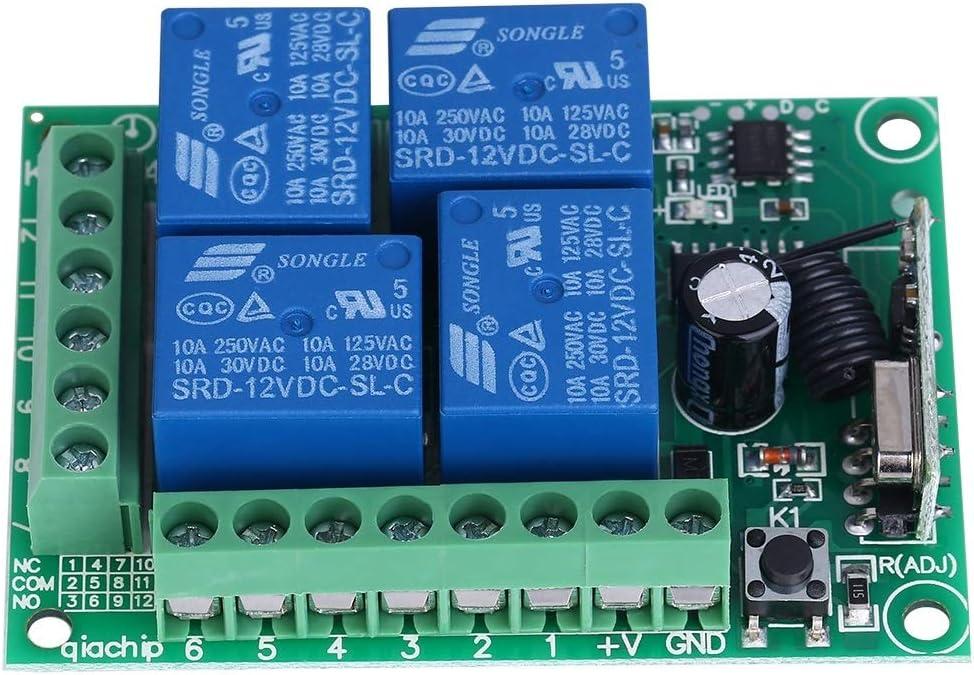 Interruptor de rel/é inal/ámbrico de 4 Canales 12V 433MHZ con Control Remoto para Bloqueo de Control de Acceso//Bloqueo autom/ático de la Puerta del Garaje M/ódulo de rel/é Interruptor inal/ámbrico Colo
