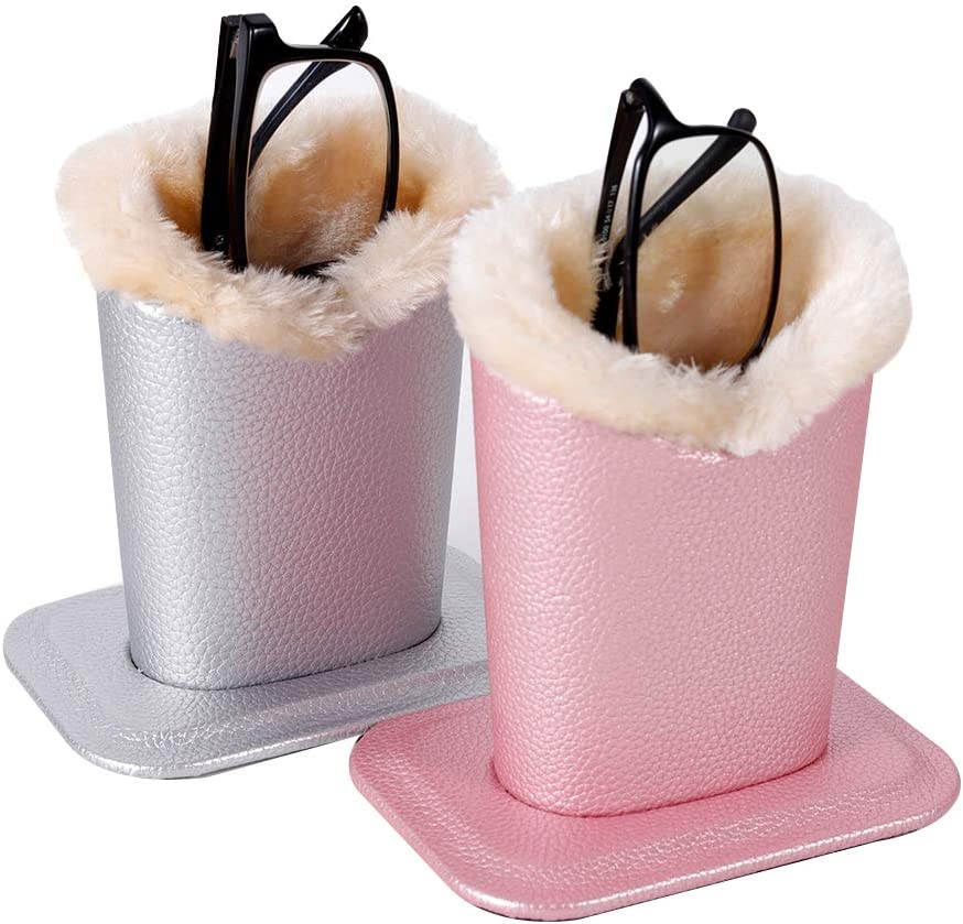 Eyeglass Holder Stand Eyeglass Stand with Soft Plush Lining PU Leather Exterior Stand Up Eyeglass Case for Desks or Nightstands,Pink