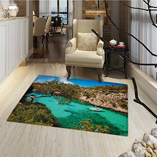 Nature Door Mats Area Rug Small Yacht Floating in Sea Majorca Spain Rocky Hills Forest Trees Scenic View Door Mat indoors Bathroom Mats Non Slip 20''x32'' Green Aqua Blue by Anmaseven
