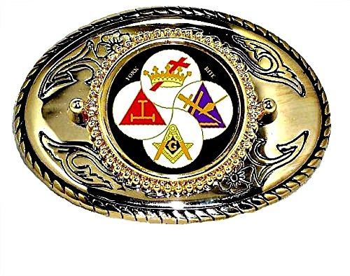 YORK RITE FREEMASONS MASON MASONIC WESTERN BELT BUCKLE