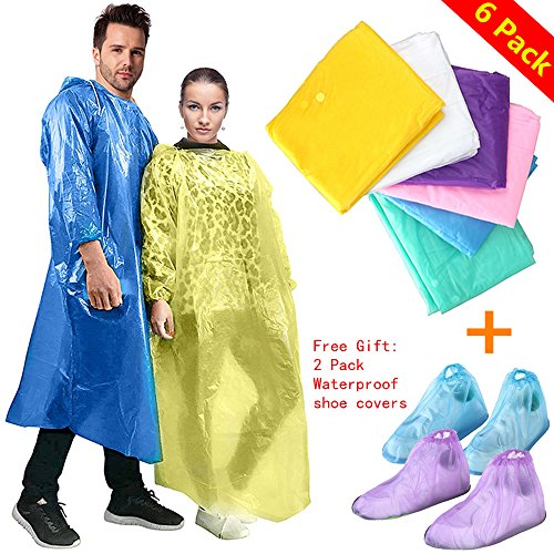 Emergency Rain Poncho for Women and Men Disposable Raincoat with Attached Hood Thicker and Portable Perfect for Travel and Outdoor Activities Free Waterproof Shoes Cover by Fish&Fairy