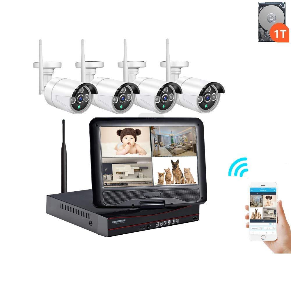 屋外 1080P 1080P 2MP 防犯カメラシステム 屋外防犯カメラセット NVR 防犯カメラ4台セット 10.1インチモニター一体型 監視警報 NVR 2MP 無料スマホ/PC遠隔監視 セキュリティ 暗視撮影監視 1TBハードディスク内蔵、日本語マニュアル 10.1LCD-4CH-1080P-1TB-3LED B07QJTG1TT, H&B:791744cd --- itxassou.fr