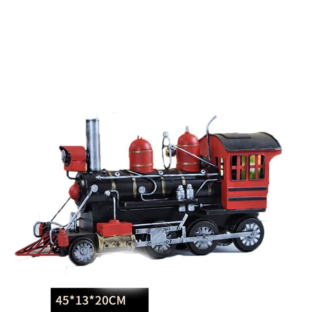 KWWA Steam Retro Kreative Ornamente Handgemachte Metall Lokomotive Schmiedeeisen Heimtextilien Modell,45  13  20
