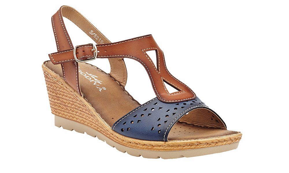 Lady Godiva Women's Open Toe Wedge Sandals Multiple Styles B079Z17K5W 8.5 B(M) US|Blue - 5215