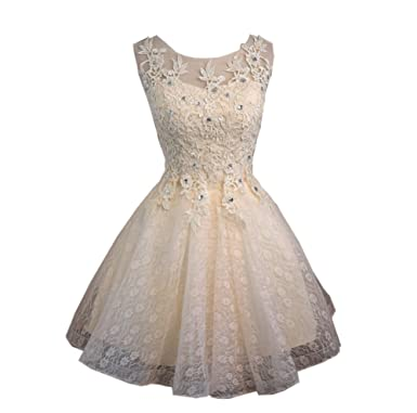 TOPJIN Juniors Short Rhinestones Wedding Homecoming Prom Cocktail Party Dresses Ball Gowns Champagne UK4