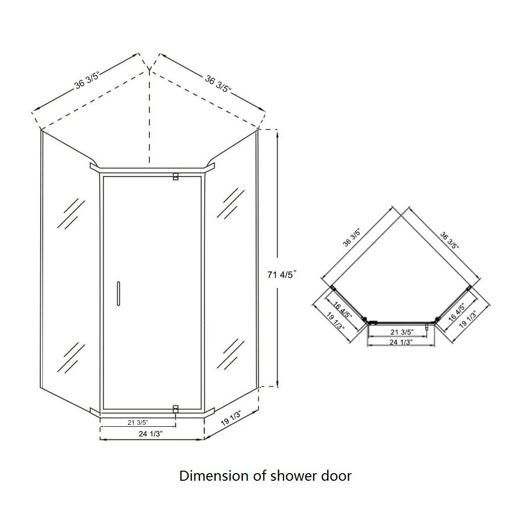 SUNNY SHOWER A33, Semi-frameless Neo-Angle Corner Shower Doors, Fit to 36 3/5'' W x 36 3/5'' D x 71 4/5'' H, 1/4'' Clear Glass, Chrome Finish- Back-wall & Shower Base Sold Separately by SUNNY SHOWER (Image #6)