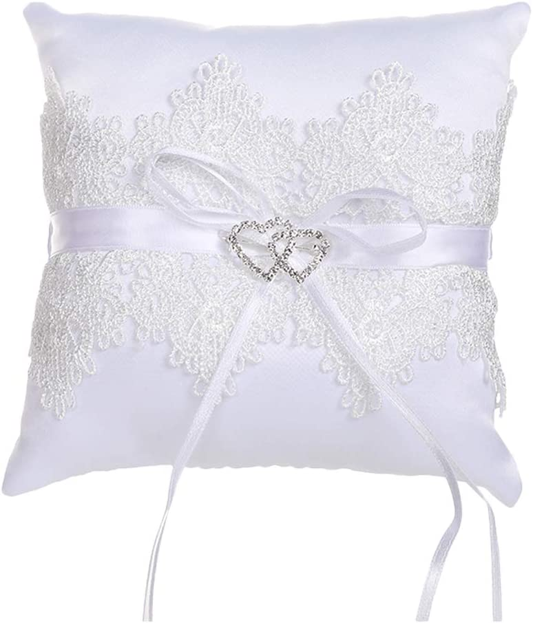 Lace Wedding Ring Pillow Crystal Double Heart Ring Cushion Wedding Ring Pillow Lace Bearer for Beach Wedding Ceremony