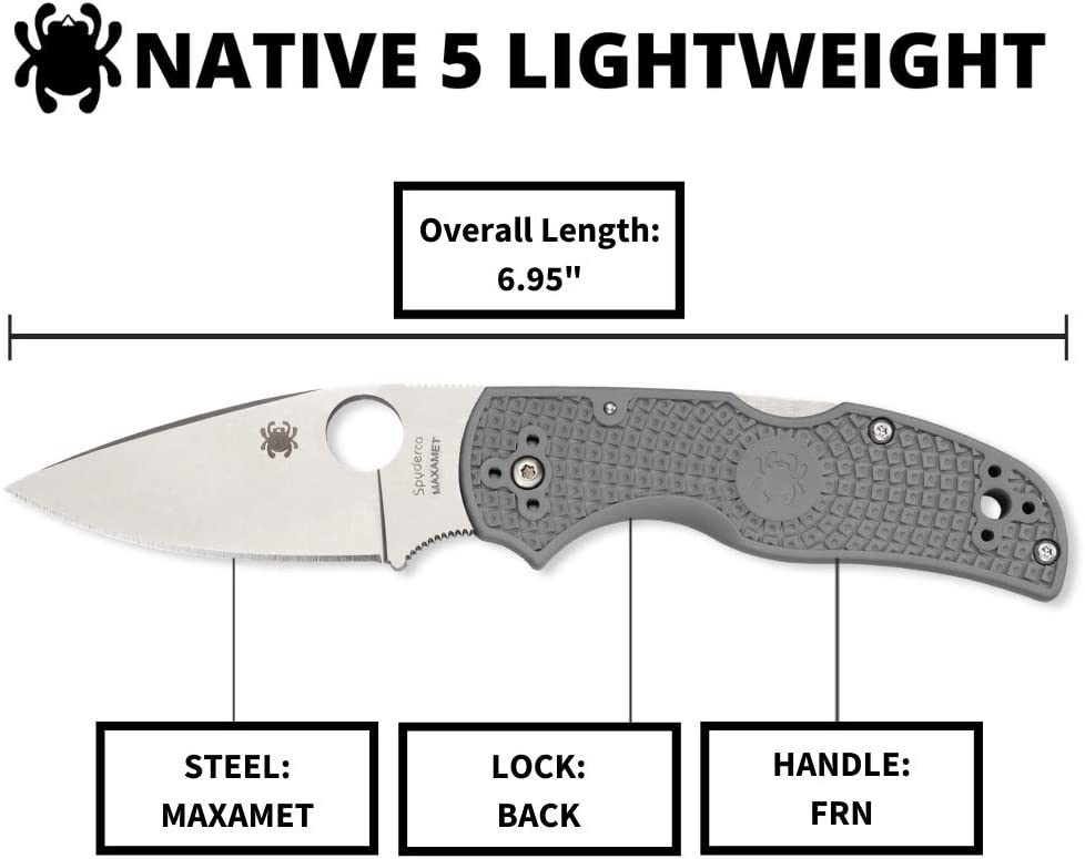 "Spyderco Native 5 Signature Knife with 2.95"" Maxamet Steel Blade and Gray FRN Handle"