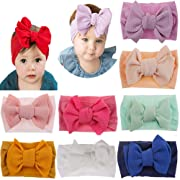 Baby Nylon Knotted Headbands Girls Head Wraps Newborn Infant Toddler Hairbands and Bows (Multicoloured ASMY10621)
