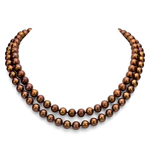 Sterling Silver 2-rows 8-8.5mm Dyed-brown Freshwater Cultured High Luster Pearl Necklace, 17