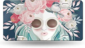 Pink Flower Sunglasses Woman With Floral Bouquet On Her Hair In Spring Wedding Anniversary Birthday License Plate Frame for Front Car,Metal License Plate Cover,License Plate Vanity Tag for Women