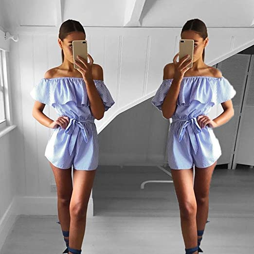 2ea07f4ba2b8 Amazon.com  Sunward Women Sexy Ruffle Off Shoulder Jumpsuit Beachwear  Vintage Strip Short Rompers Playsuit  Clothing