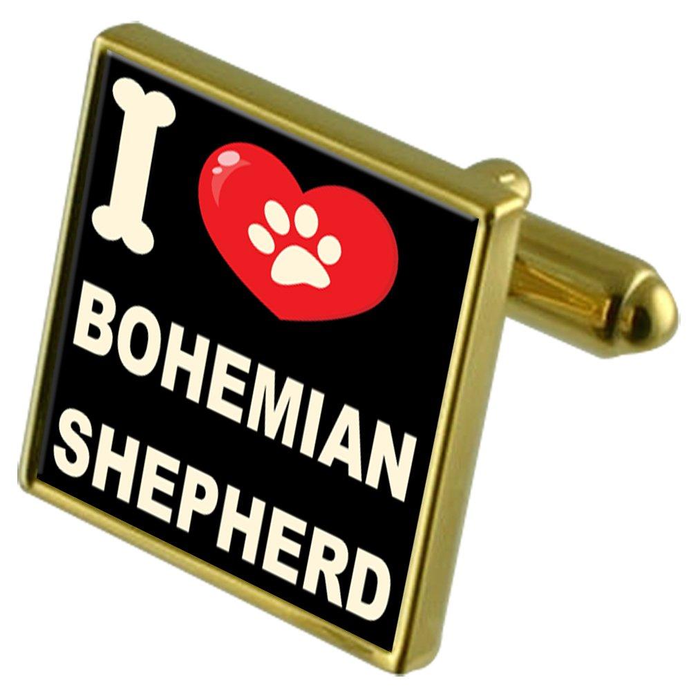 Select Gifts I Love My Dog Gold-Tone Cufflinks /& Money Clip Bohemian Shepherd