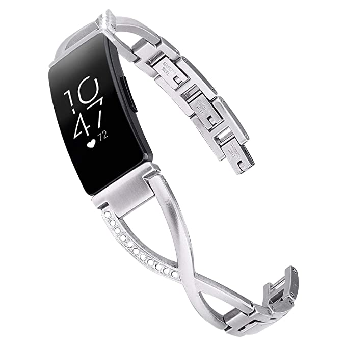 V-MORO Bracelet Compatible with Fitbit Inspire HR Bands Women Silver  Jewelry Inspire Band Metal Stainless Steel Strap with Bling Stone  Replacement for