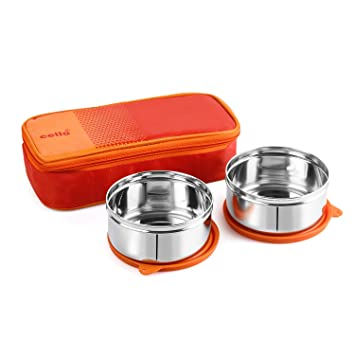 Cello Max Fresh Fresh Matiz Lunch Box, 2 Pc, Orange