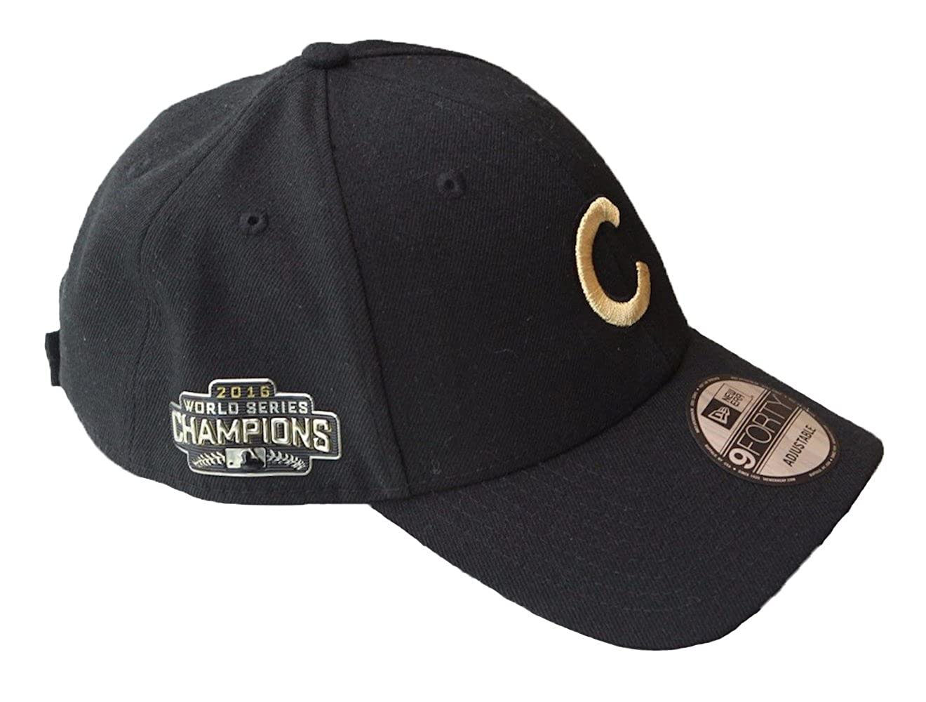 ddf37010c1040 Amazon.com  New Era Mens Chicago Cubs 9FORTY Adjustable 2016 World Series  Baseball Hat Black  Clothing