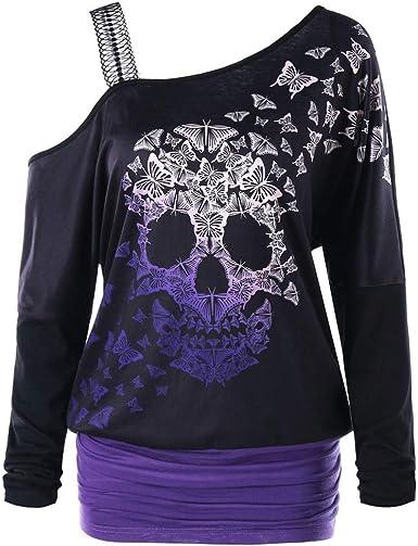QinMMROPA Camiseta con Estampado de Mariposa y Calavera sin Tirantes de Halloween para Mujer Camisa Sudadera con Hombros Descubiertos Disfraces de Halloween: Amazon.es: Ropa y accesorios