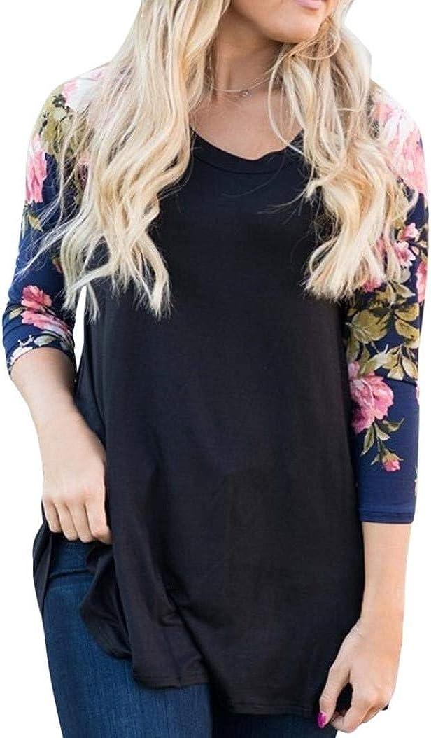 Camisas Mujer Primavera Otoño Shirts Fiesta Festival de Moda Informales Pin- Up Blusas Mangas 3/4 Cuello Redondo Floreadas Slim Fit Moda Joven Camisetas Tops: Amazon.es: Ropa y accesorios