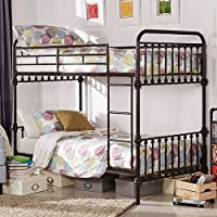 Kids Bunk Bed Frame Wrought Iron Cast Metal Vintage Antique Rustic Country Style Bedroom Furniture