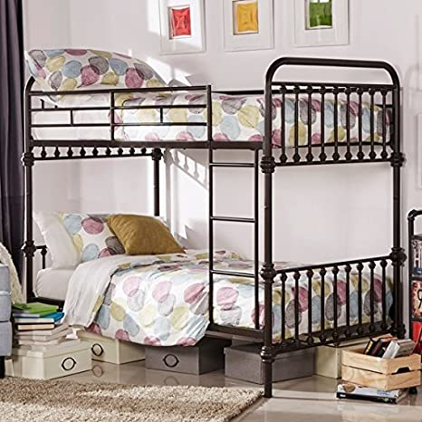 Kid\'s Bunk Bed Frame Wrought Iron Cast Metal Vintage Antique Rustic Country  Style Bedroom Furniture