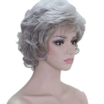 COPLY Women Soft Thick Wavy Layered Grey/Gray Full Synthetic Wig Short Curly Wigs for