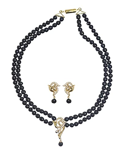 1b11d295a28ce Buy Black Pearl Necklace set Online at Low Prices in India | Amazon ...