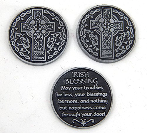 Irish Blessing Cross (Three (3) Pewter IRISH BLESSINGS Prayer - Pocket Tokens CELTIC CROSS - 1