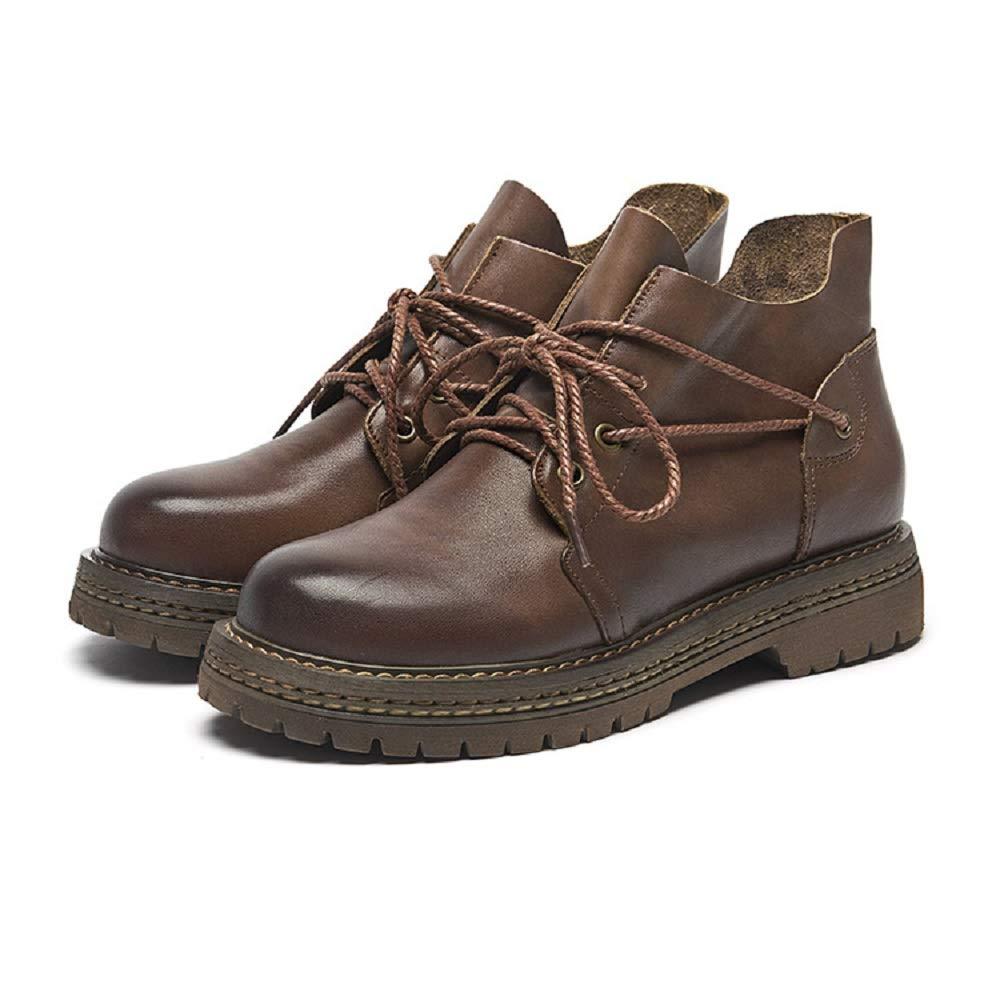 Gaslinyuan Martin Stiefel für Damen schnüren Sich Sich Sich Ankle Leather schuhe (Farbe   Braun Größe   EU 36) d06700