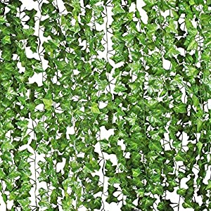 Houkr 84 Ft-12 Pack Artificial Ivy, Fake Lifelike Boston Ivy Garland Plants Vine Hanging Wedding Garland Fake Foliage Flowers Home Kitchen Garden Office Wedding Wall Decor 36