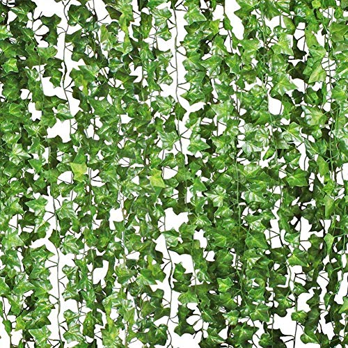 Houkr 84 Ft-12 Pack Artificial Ivy, Fake Lifelike Boston Ivy Garland Plants Vine Hanging Wedding Garland Fake Foliage Flowers Home Kitchen Garden Office Wedding Wall Decor