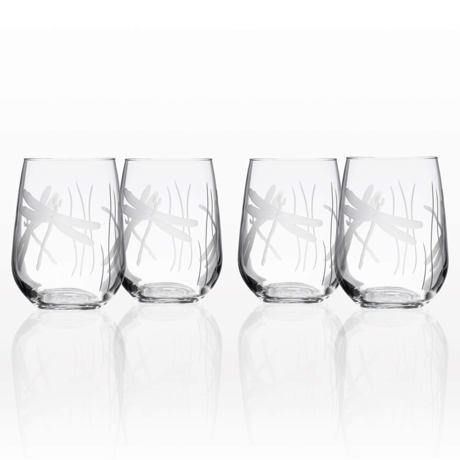Rolf Glass Dragonfly Stemless Wine Glass 17 ounces, Set of 4