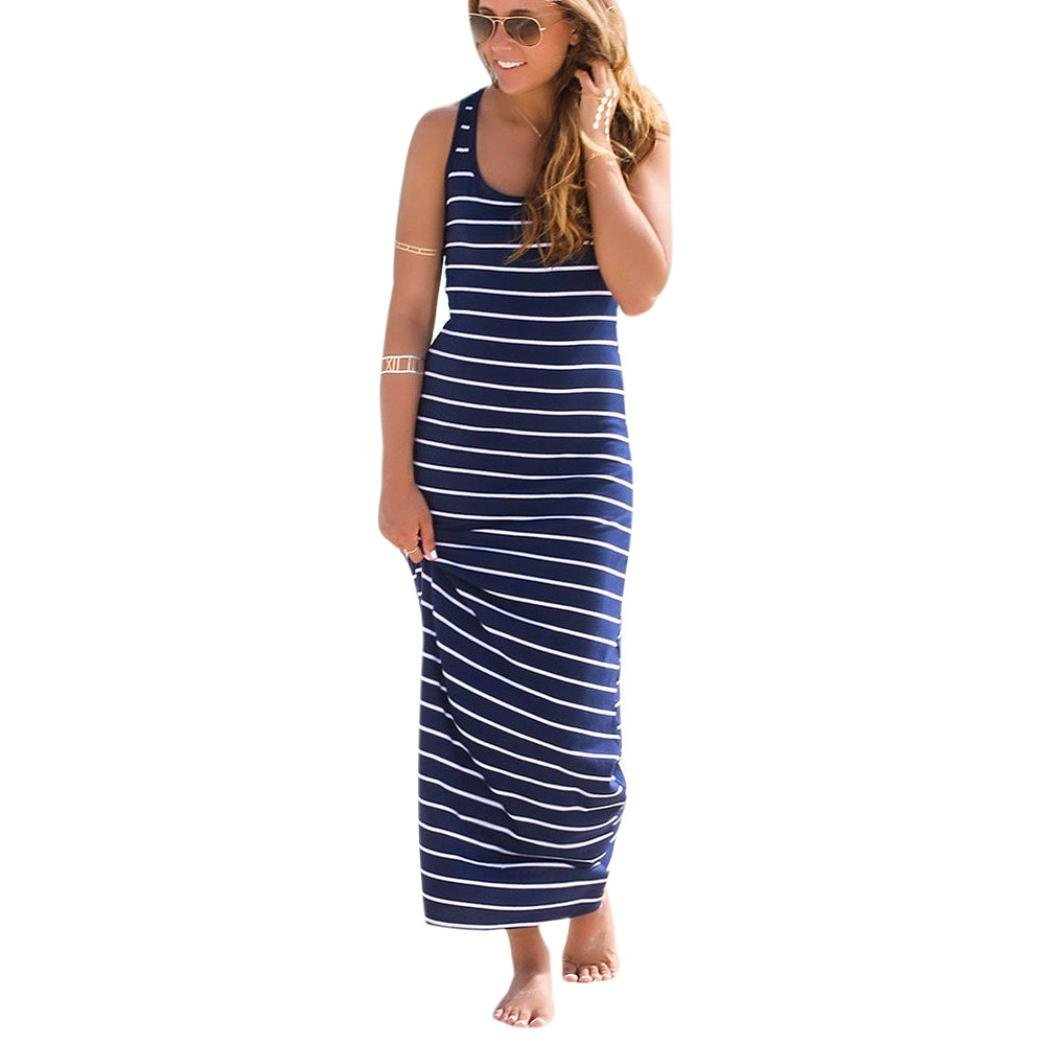 Sunward(TM) Women Sleeveless Striped Loose Long Beach Sundress (Small, Blue)