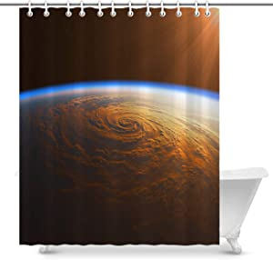 Vikes Nature Shower Curtain,Luxury Home Decor Shower Curtain,Hurricane in The Rays of Sun,Water Repellent Shower Curtains for Shower and Bathtub,78Wx72L