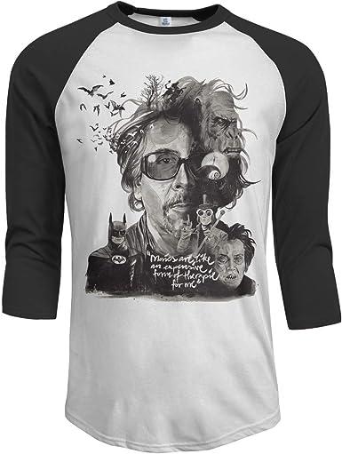 Pimkly Camisetas y Tops, Polos y Camisas Hombres Tim Burton 3/4 Sleeve Raglan Baseball tee Black: Amazon.es: Ropa y accesorios