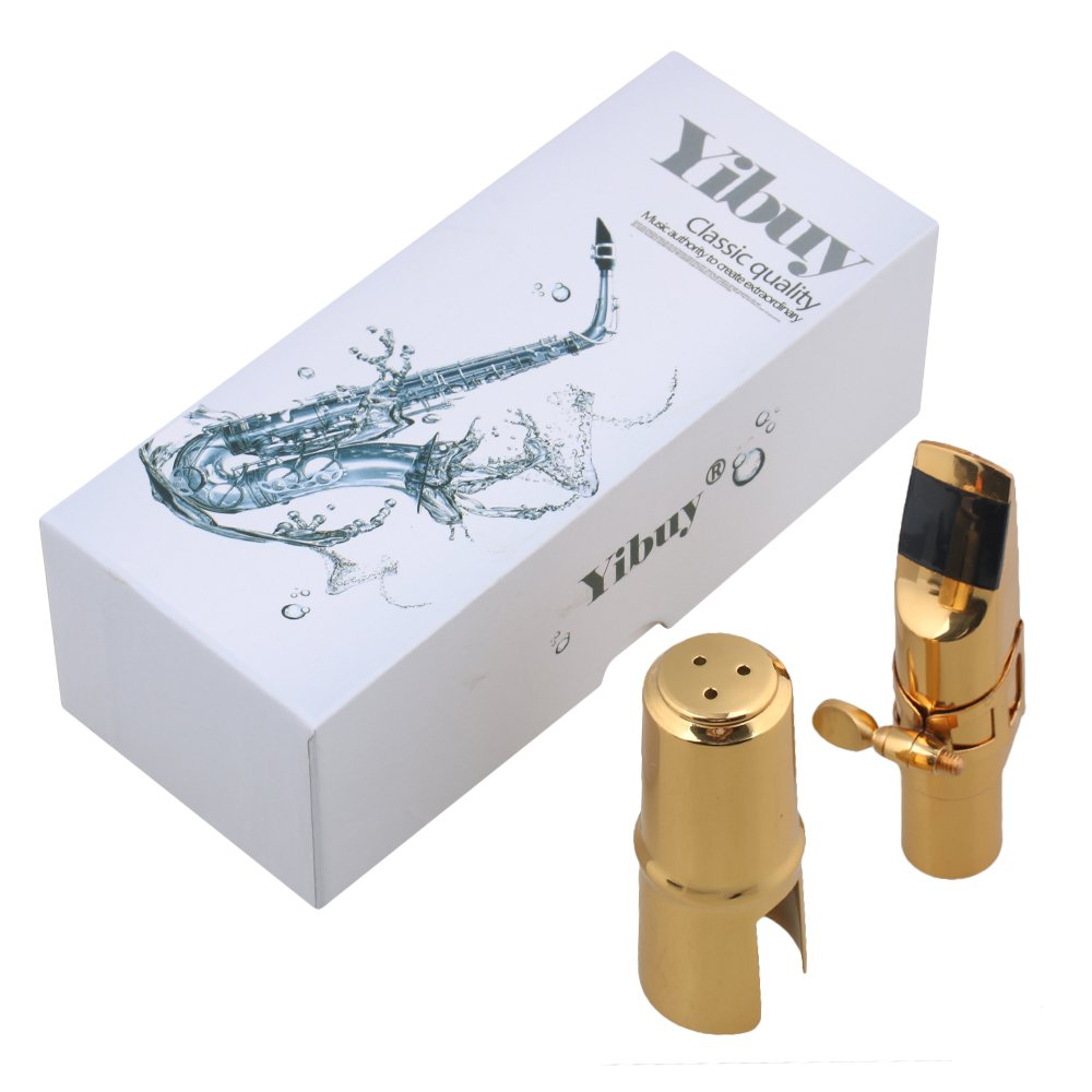 Yibuy Gold-plated Copper 7# Eb Sax Mouthpiece with Cap + Ligature for Alto Saxophone etfshop M7170814011