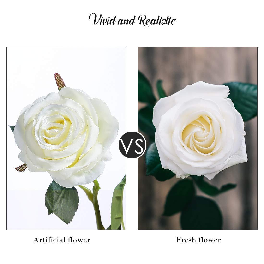DuHouse 10pcs Silk Roses Artificial Flowers Fake Arrangement Wedding Party Home Decoration (White Long Stem)