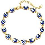 Evil Eye Blue Bracelet Anklet for Girls Women,14K Gold Plated Turkish ojo Mati Bracelet Anklet Chain Jewelry Gift