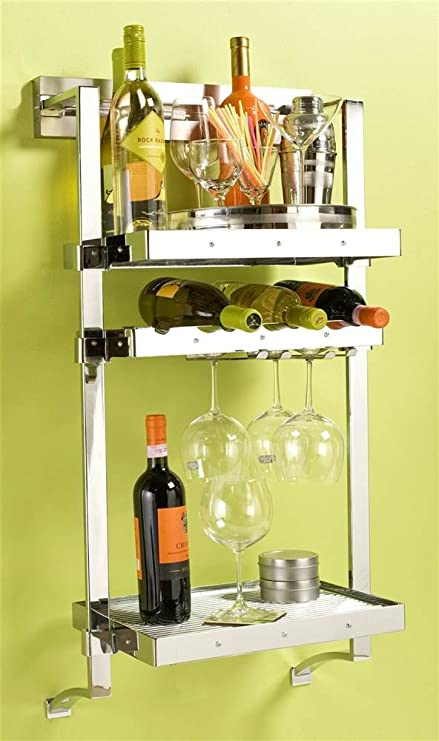 Amazoncom Pegrail 18 In Wall Mounted Wine Rack Polished Chrome